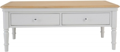 Annecy Oak and Soft Grey Painted 2 Drawer Coffee Table