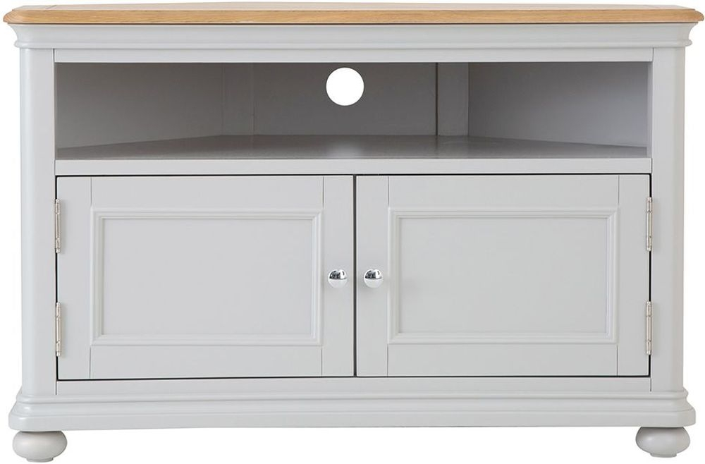 Annecy Oak and Soft Grey Painted 2 Door Corner TV Unit