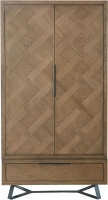 Chevron Oak and Metal 2 Door Wardrobe