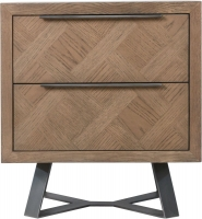Chevron Oak and Metal Bedside Cabinet