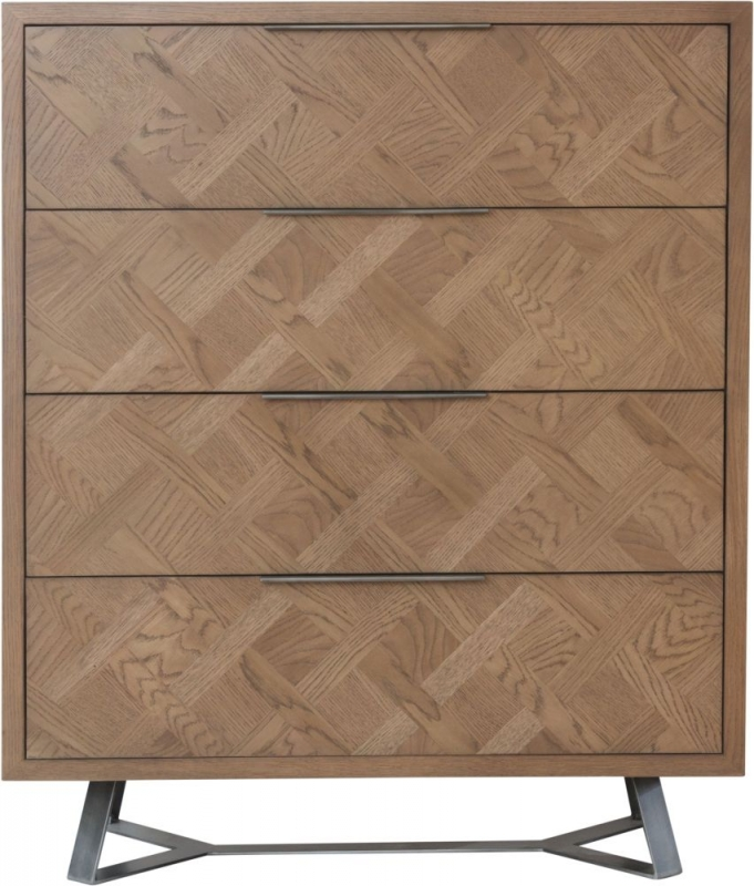 Chevron Oak and Metal 4 Drawer Chest
