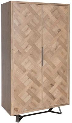 Chevron Oak and Metal 2 Door 1 Drawer Wine Cabinet