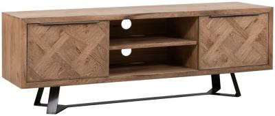 Chevron Oak and Metal 2 Door TV Cabinet