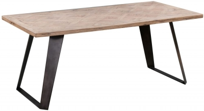 Chevron Oak and Metal Dining Table