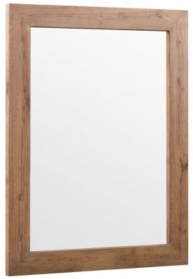 Chevron Oak and Metal Wall Mirror