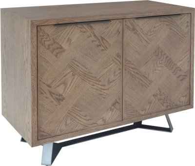 Chevron Oak and Metal 2 Door Sideboard