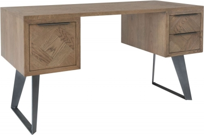Chevron Oak and Metal Desk