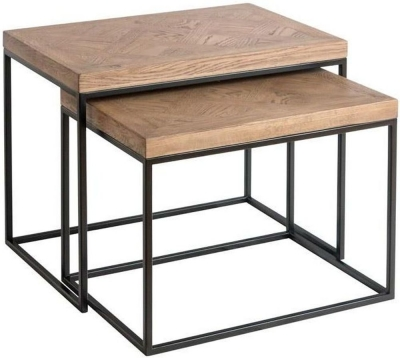 Chevron Oak and Metal Nest of 2 Tables
