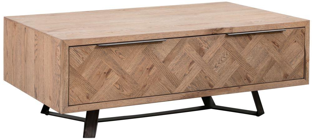 Chevron Oak and Metal 1 Drawer Coffee Table