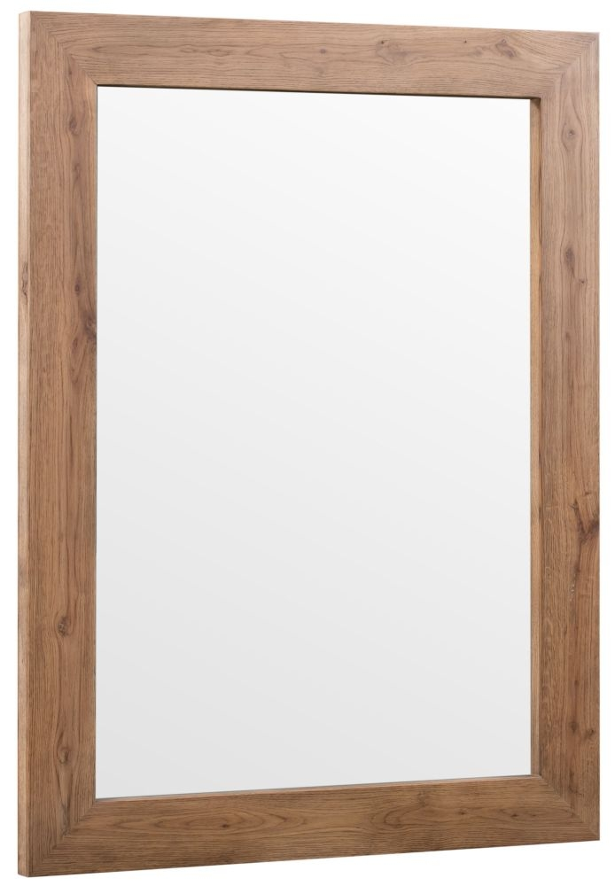 Chevron Oak and Metal Wall Mirror