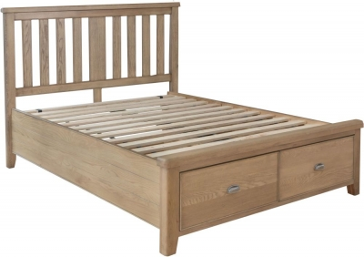 Hatton Oak Storage Bed with Wooden Headboard