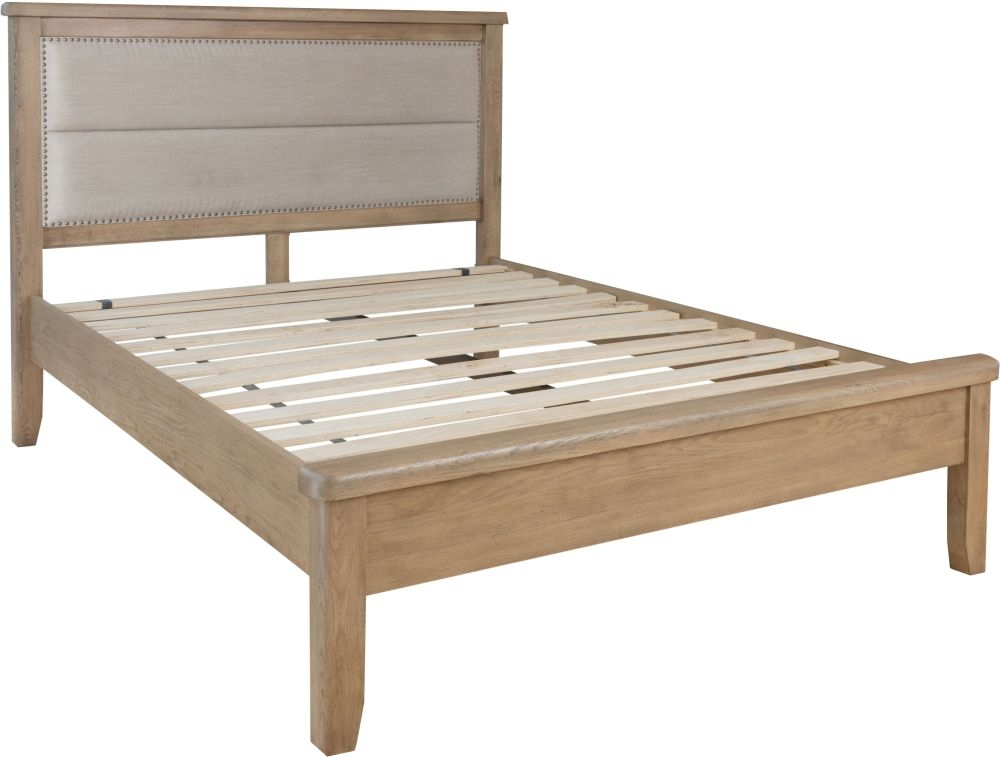 Hatton Oak Low Foot End Bed with Fabric Headboard