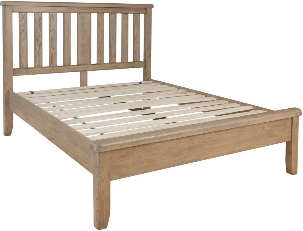Hatton Oak Low Foot End Bed with Wooden Headboard