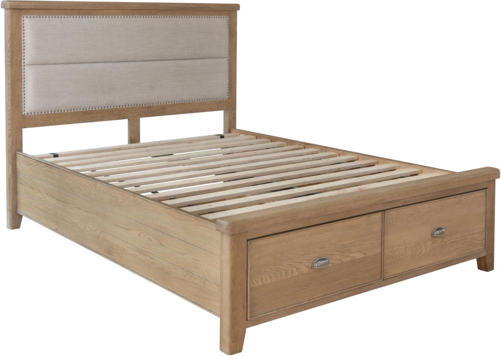 Hatton Oak Storage Bed with Fabric Headboard