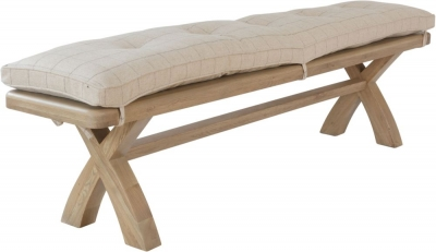 Hatton Oak Bench with Natural Check Fabric Cushion