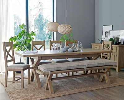 Hatton Oak Cross Leg 200cm-250cm Extending Dining Table with 5 Cross Back Chairs and Bench