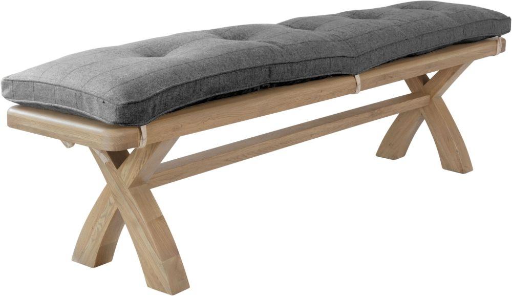 Hatton Oak Bench with Grey Check Fabric Cushion