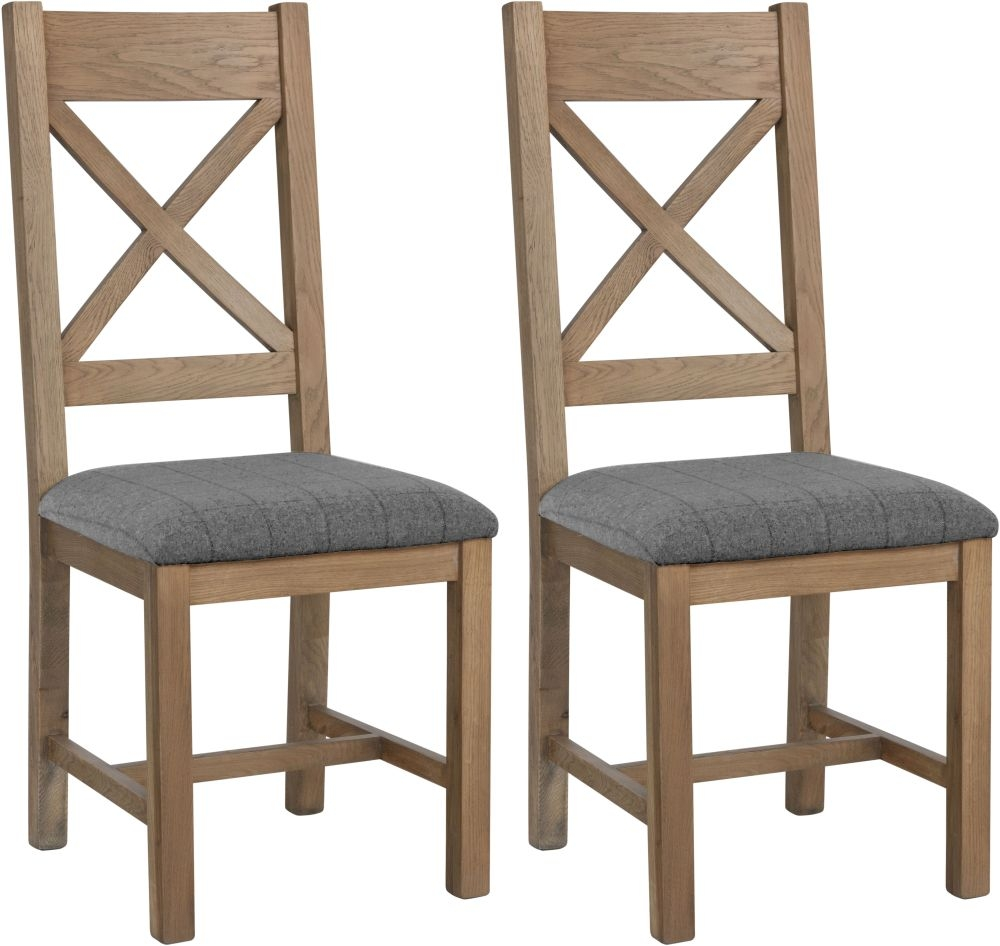 Hatton Oak Cross Back Dining Chair with Grey Fabric Seat (Pair)