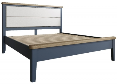 Ringwood Blue Painted Low Foot End Bed with Fabric Headboard