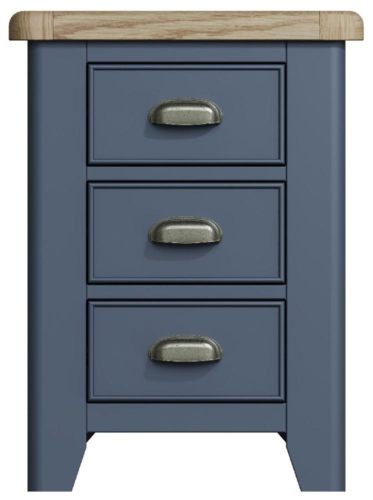 Ringwood Blue Painted Large Bedside Cabinet - Oak Top