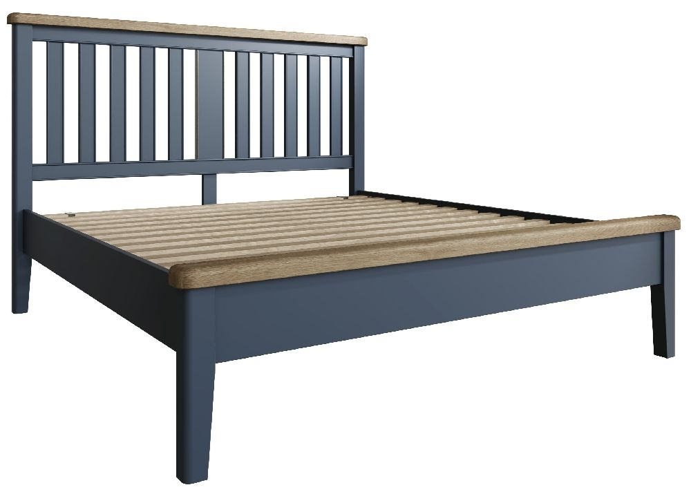 Ringwood Blue Painted Low Foot End Bed with Wooden Headboard