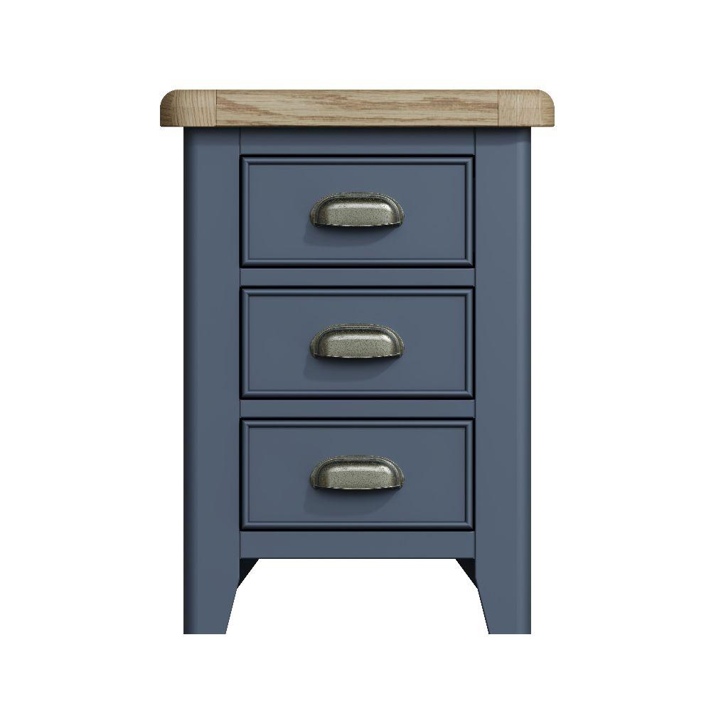 Ringwood Blue Painted Bedside Cabinet - Oak Top