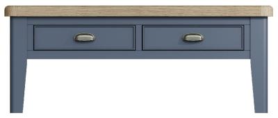 Ringwood Blue Painted 2 Drawer Coffee Table - Oak Top