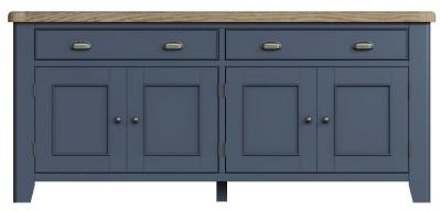 Ringwood Blue Painted 4 Door 2 Drawer Sideboard - Oak Top