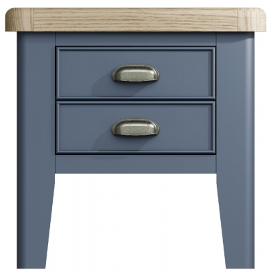 Ringwood Blue Painted Lamp Table - Oak Top