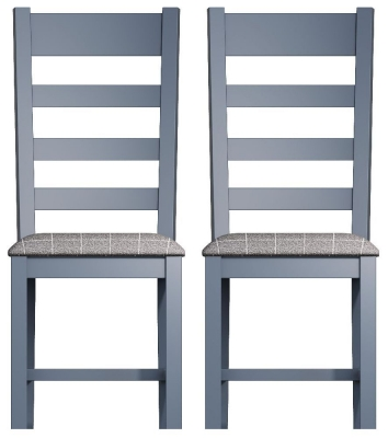 Ringwood Blue Painted Slatted Back Dining Chair with Grey Fabric Seat (Pair)