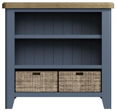 Ringwood Blue Painted Small Bookcase - Oak Top