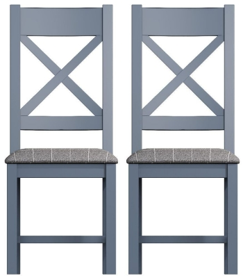 Ringwood Blue Painted Cross Back Dining Chair with Grey Fabric Seat (Pair)