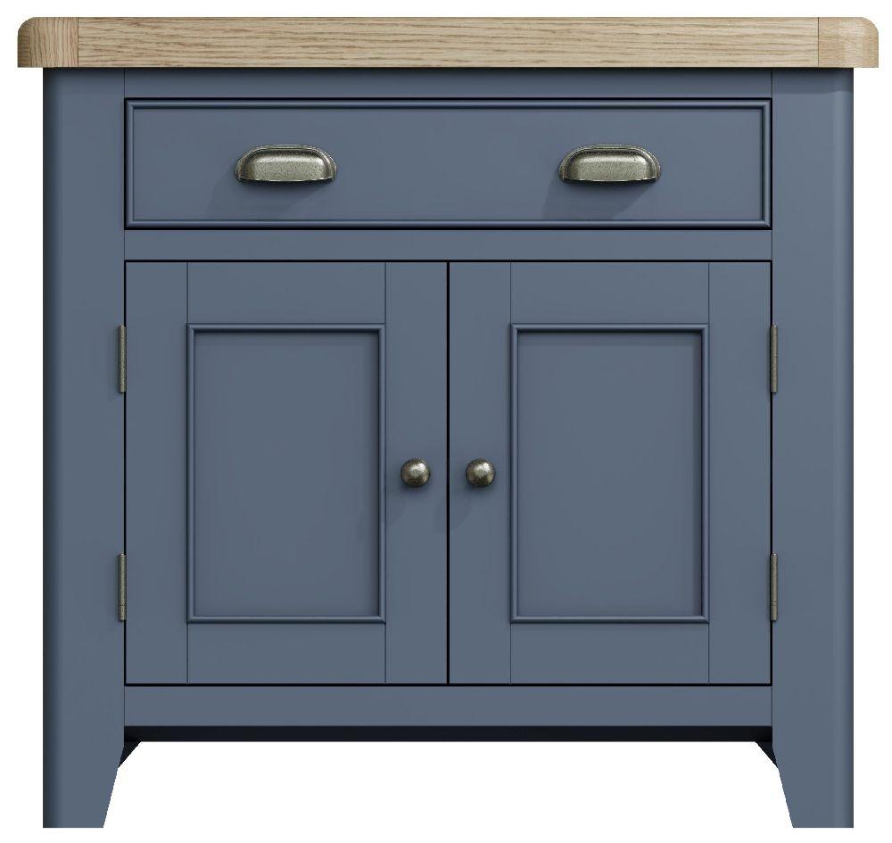 Ringwood Blue Painted 2 Door 1 Drawer Sideboard - Oak Top