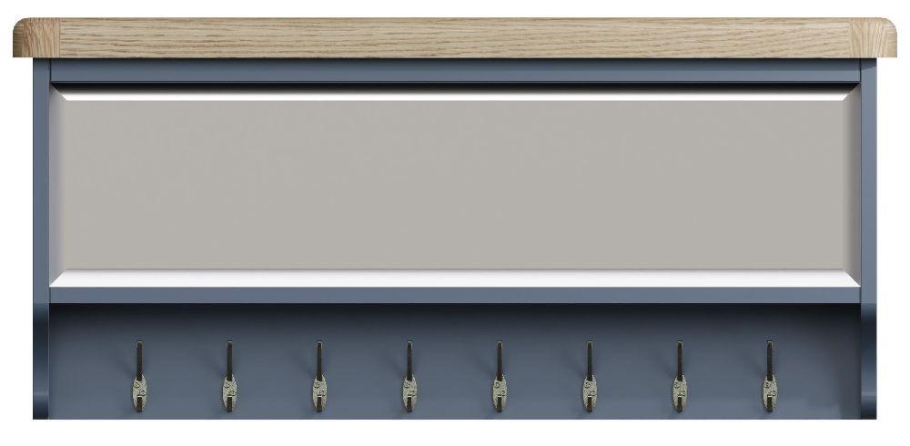 Ringwood Blue Painted Coat Rack - Oak Top