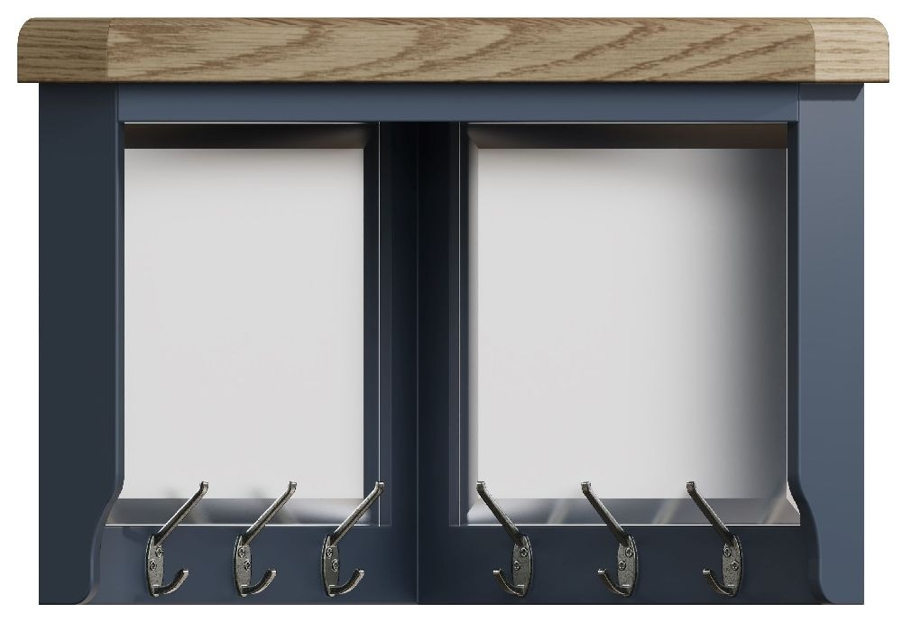 Ringwood Blue Painted Corner Coat Rack - Oak Top