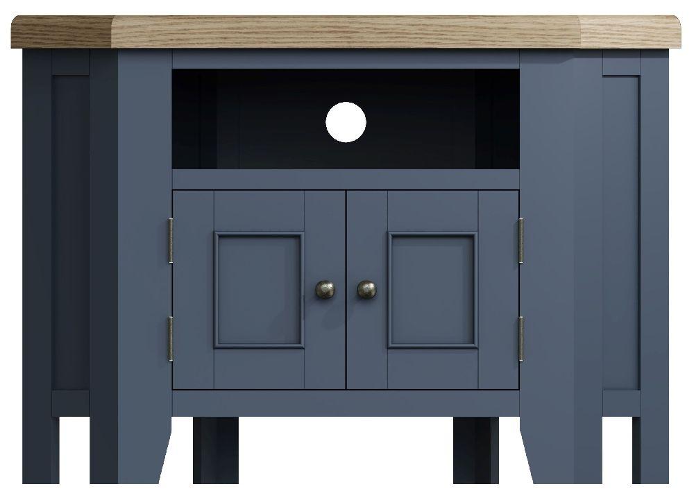 Ringwood Blue Painted Corner TV Unit - Oak Top