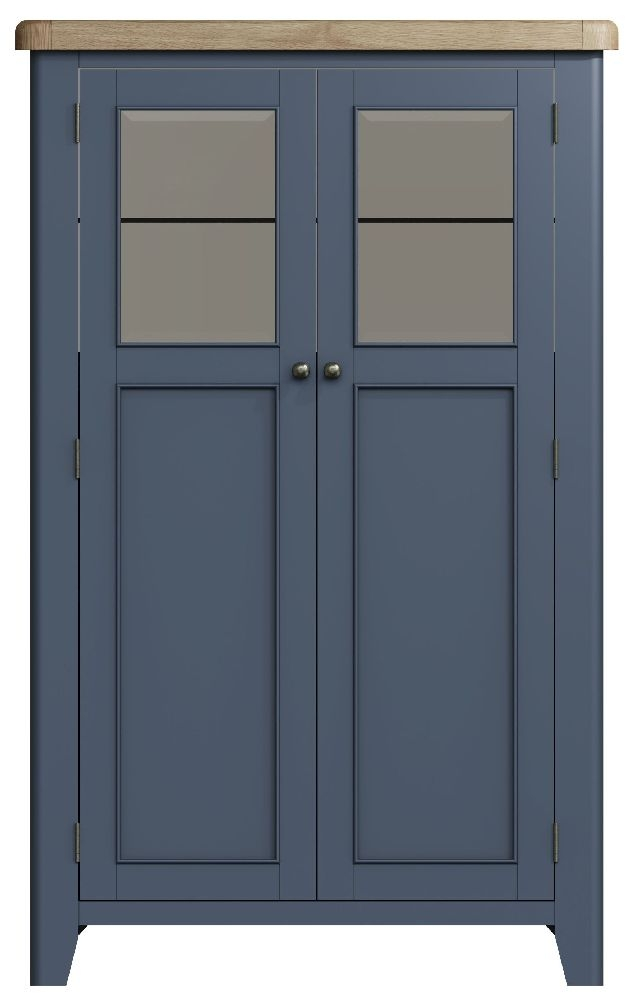 Ringwood Blue Painted Drinks Cabinet - Oak Top