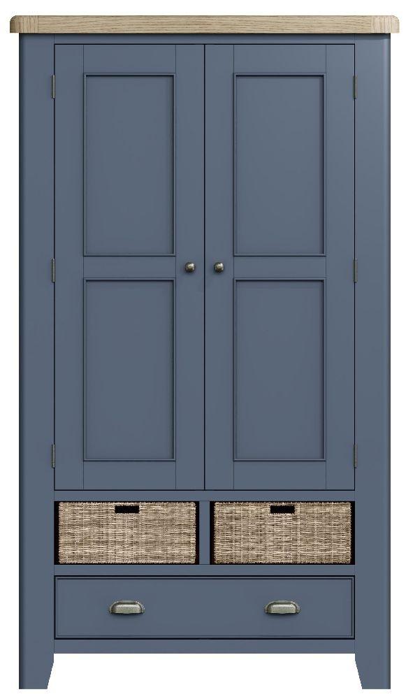 Ringwood Blue Painted Larder Unit - Oak Top