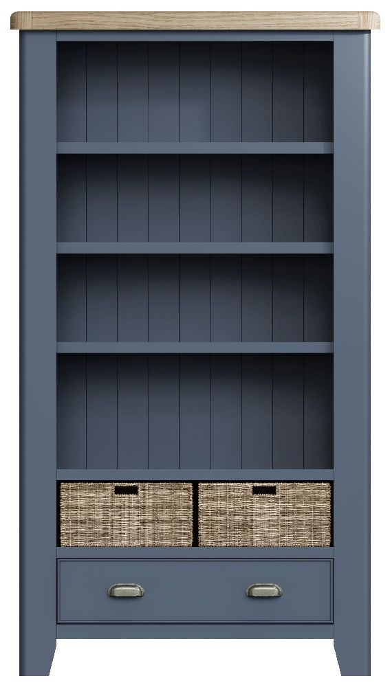 Ringwood Blue Painted Large Bookcase - Oak Top