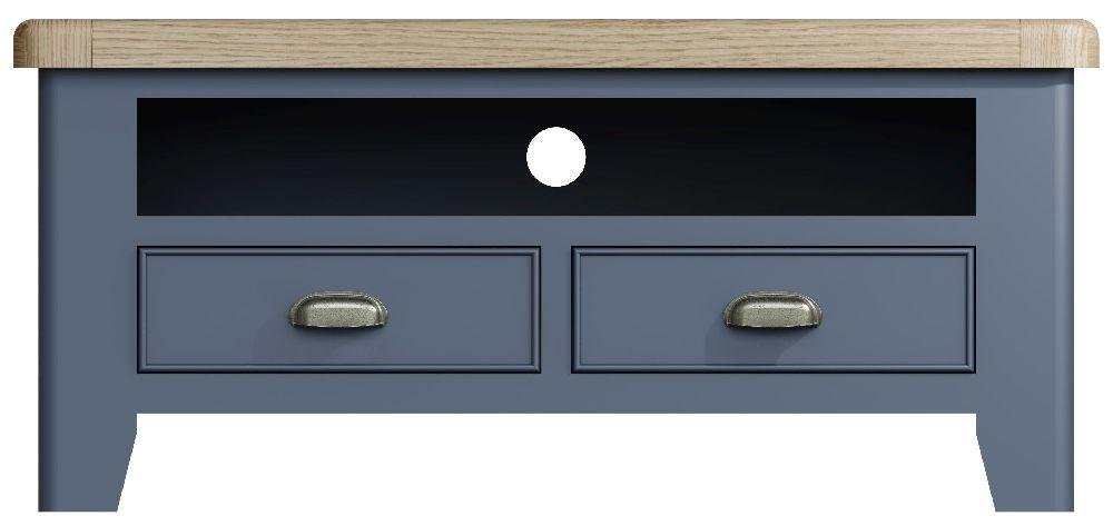 Ringwood Blue Painted TV Unit - Oak Top