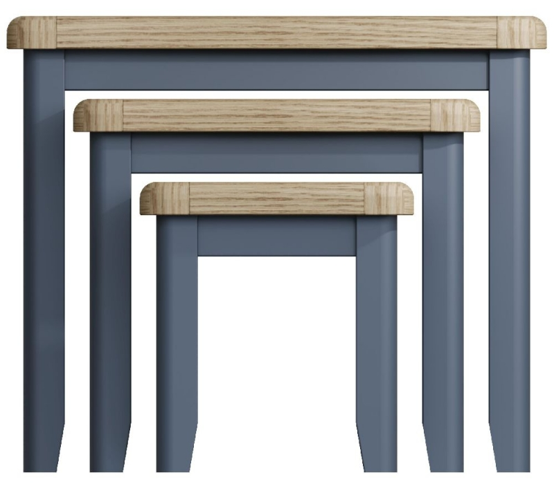 Ringwood Blue Painted Nest of 3 Tables - Oak Top