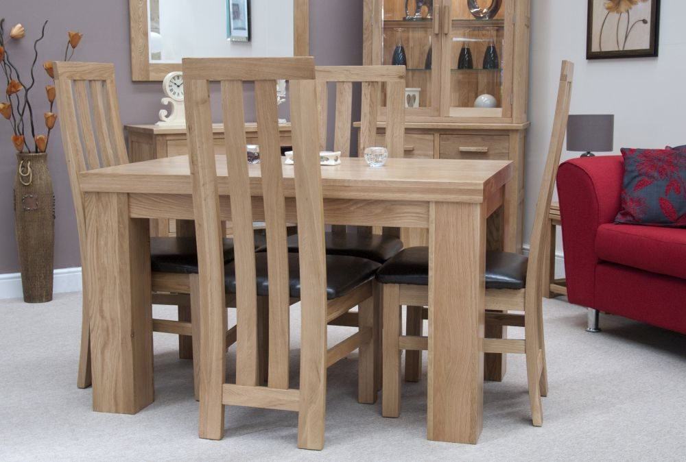 Cumbria Oak Small Dining Set with 4 Portsmoth Chairs