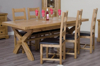 Delight Oak Cross Leg Extending Dining Set with 6 Ladder Back Chairs