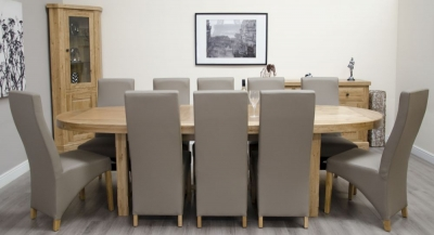 Delight Oak Dining Set - Oval Super Extending with 10 Wave Bonded Mushroom Chairs