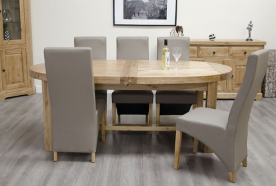 Delight Oak Dining Set - Oval Super Extending with 4 Wave Bonded Mushroom Chairs