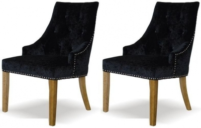 Belgin Crushed Velvet Dining Chair - Black (Pair)