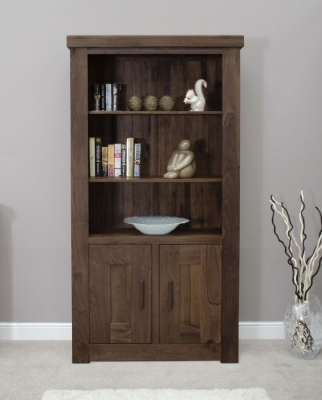 Fudge Solid Walnut 2 Door Bookcase
