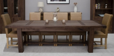 Fudge Solid Walnut Grand Extending Dining Set with 6 Louisa Tan Chairs