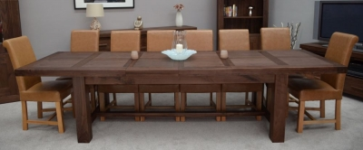 Fudge Solid Walnut Grand Extending Dining Set with 8 Louisa Tan Chairs