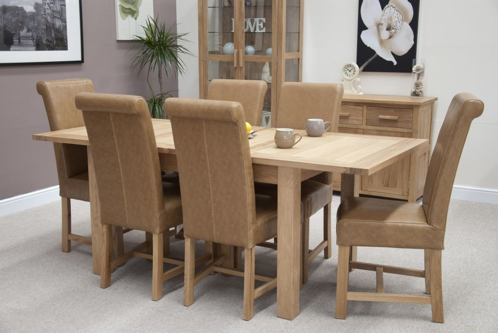 Opula Oak Extending Dining Set with 6 Lucy Tan Dining Chairs